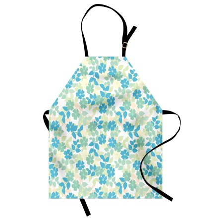 Flower Apron Flowers Leaves Vintage Style Classic Nostalgia Summertime Art, Unisex Kitchen Bib Apron with Adjustable Neck for Cooking Baking Gardening, Almond Green Pale Yellow Blue, by Ambesonne