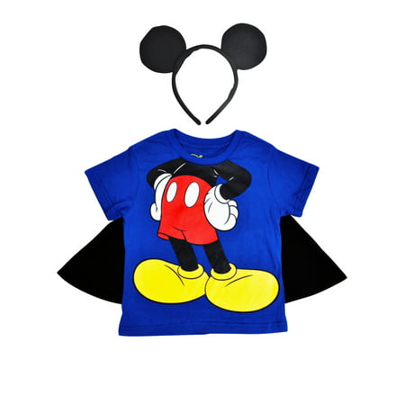 Boys Mickey Mouse Costume T-Shirt with Cape & Ears