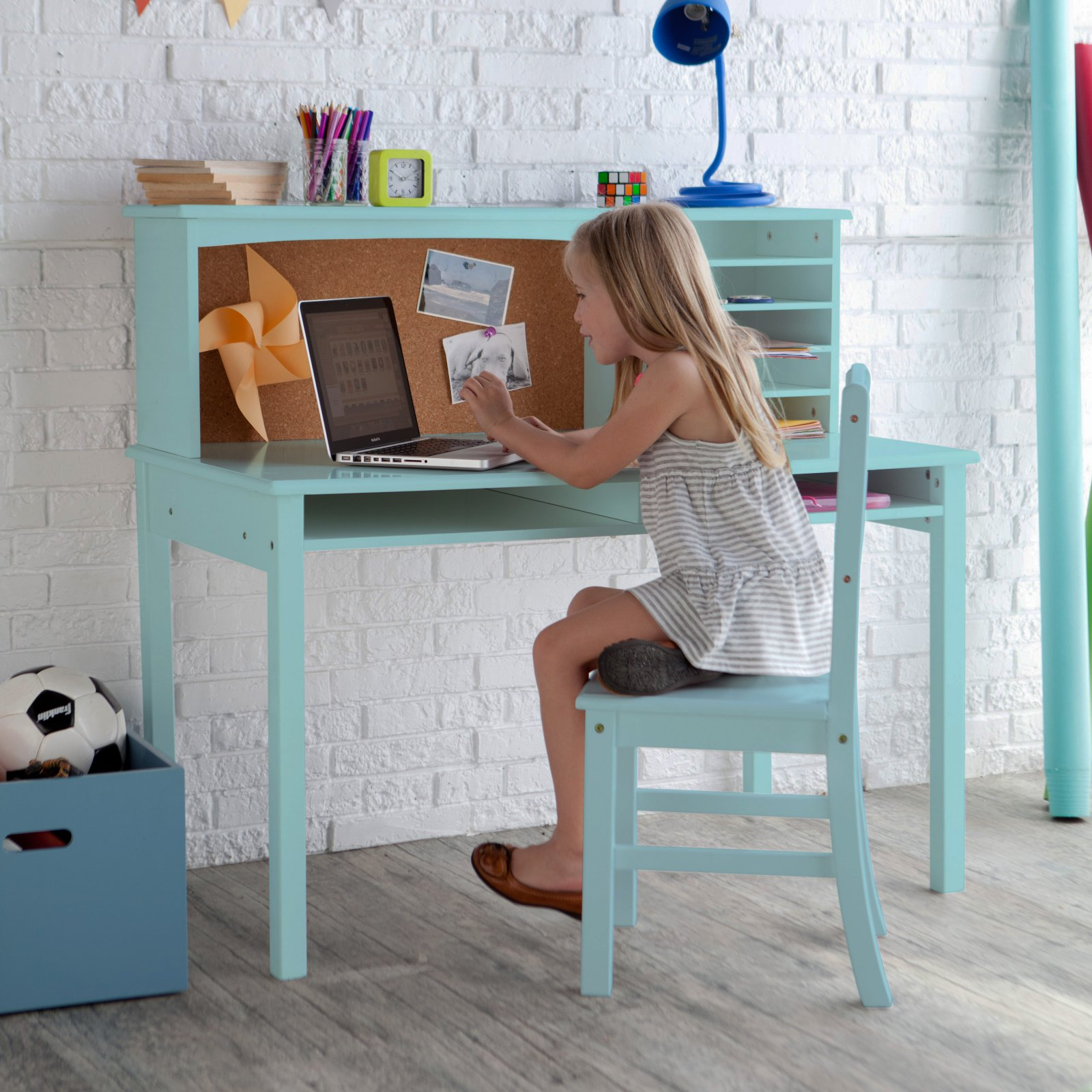 Guidecraft Media Desk & Chair Set - Teal