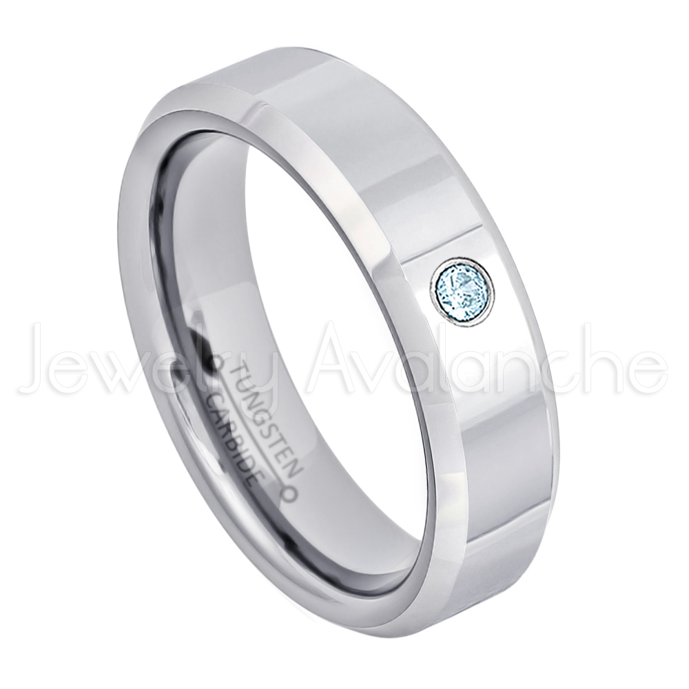 Tungsten Carbide Ring TS1682 Blue Topaz Solitaire Wedding Band Ladies November Birthstone Ring 6mm Black Ion Plated Brushed Center