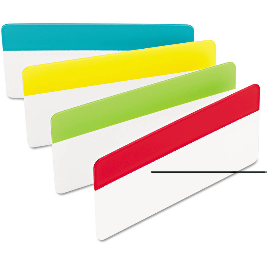 "Post-it Tabs, 3"" x 1-1/2"", Solid Colors, Aqua/Lime/Red/Yellow, 24 Tabs"
