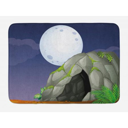 Cave Bath Mat Full Moon In The Sky Over Prehistoric