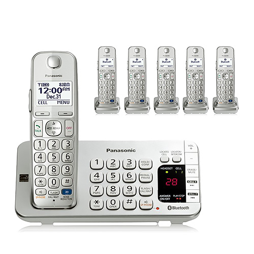 Panasonic KX-TGE276S (Replaces KX-TG7746S) 6 Handset Expandable Cordless Phone w/ DECT 6.0 Technology