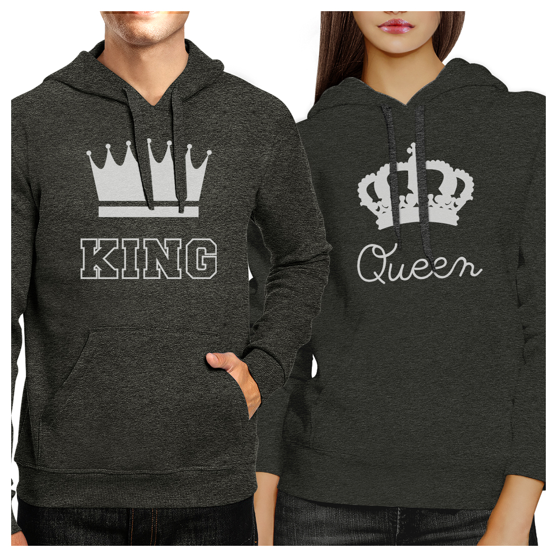 King And Queen Cool Grey Matching Hoodies Pullover Set For Couples