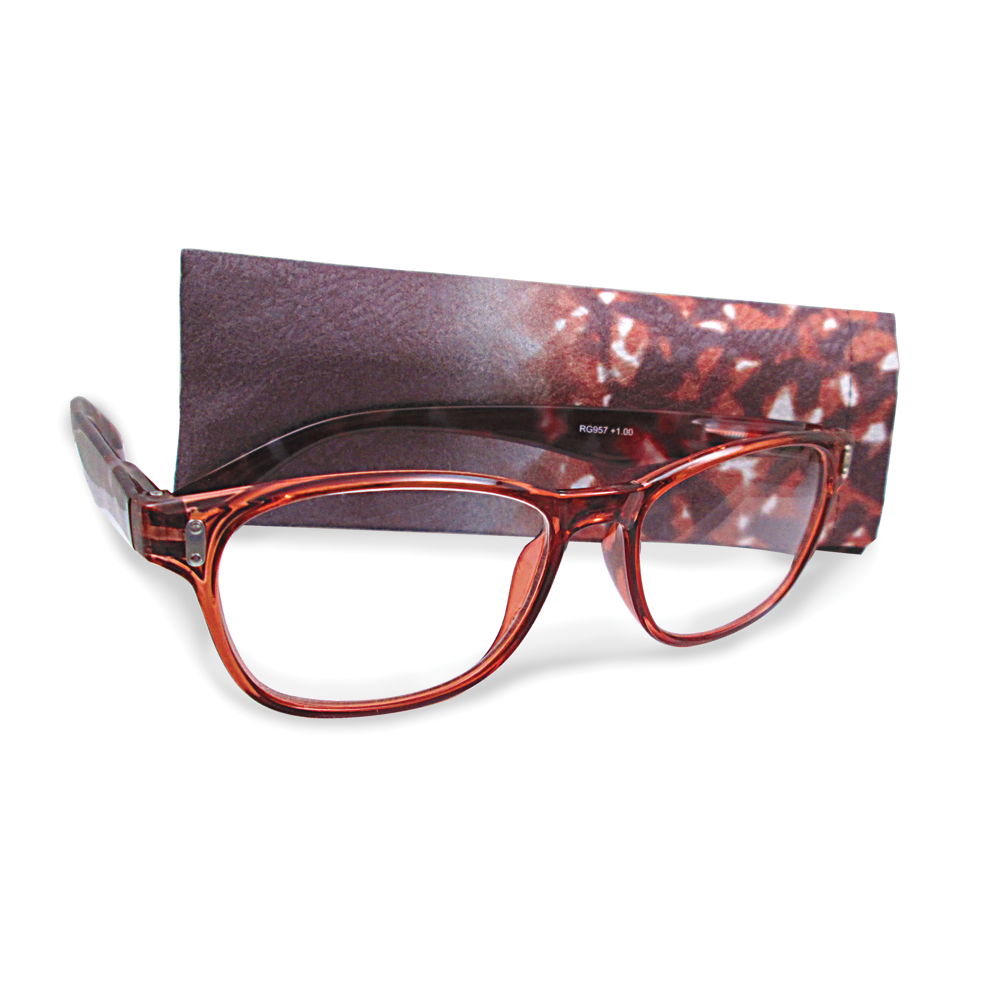 Brown +1.75 Magnification Reading Glasses