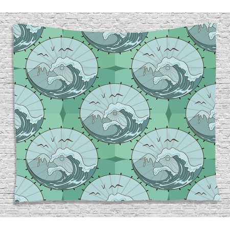 Gull Circle (Apartment Decor Tapestry, Wave Mountain and Gull Nature Scenery in Circle Chinese Umbrella Pattern , Wall Hanging for Bedroom Living Room Dorm Decor, 60W X 40L Inches, Green Blue, by Ambesonne )