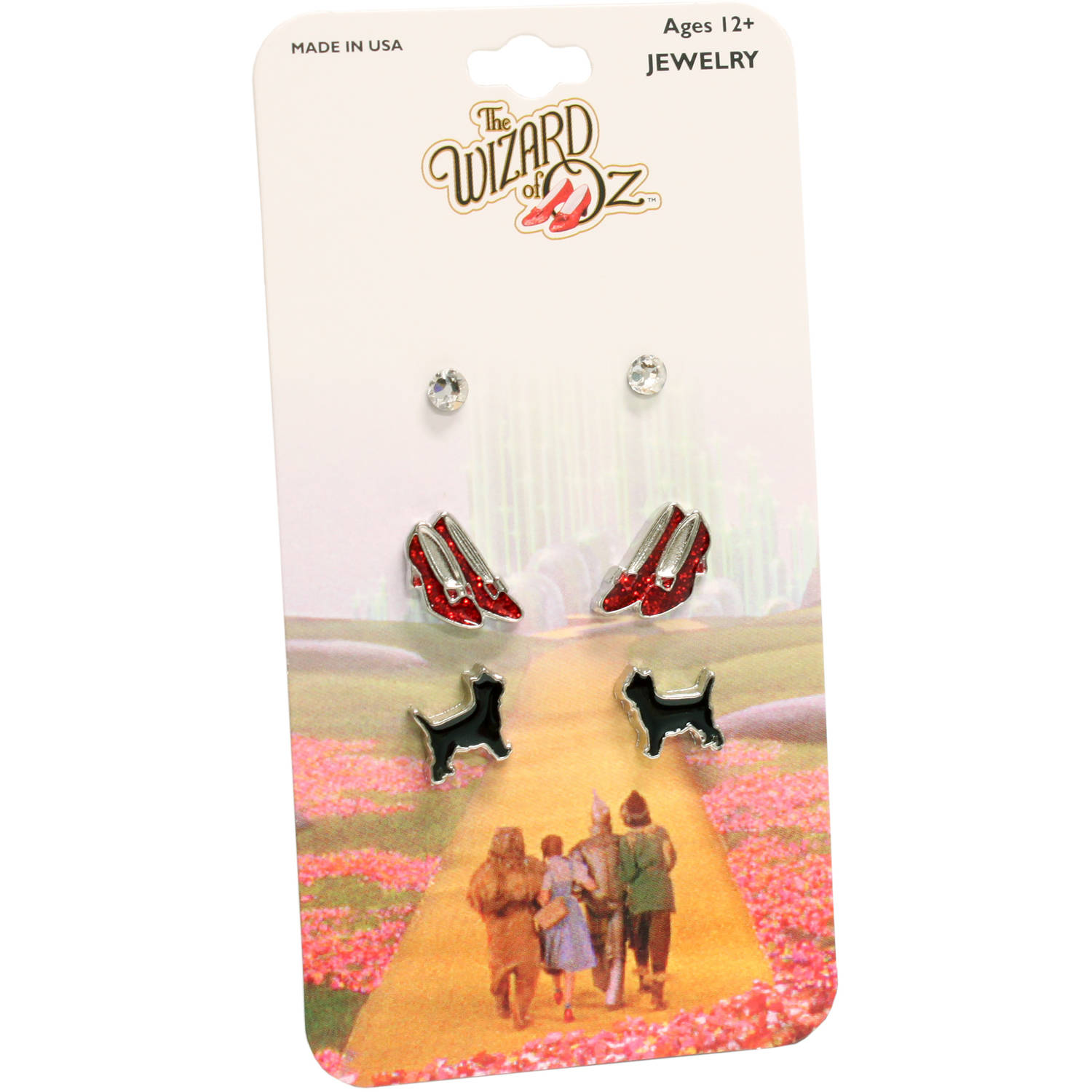 The Wizard of Oz Rhodium Stud Earring Set with Toto