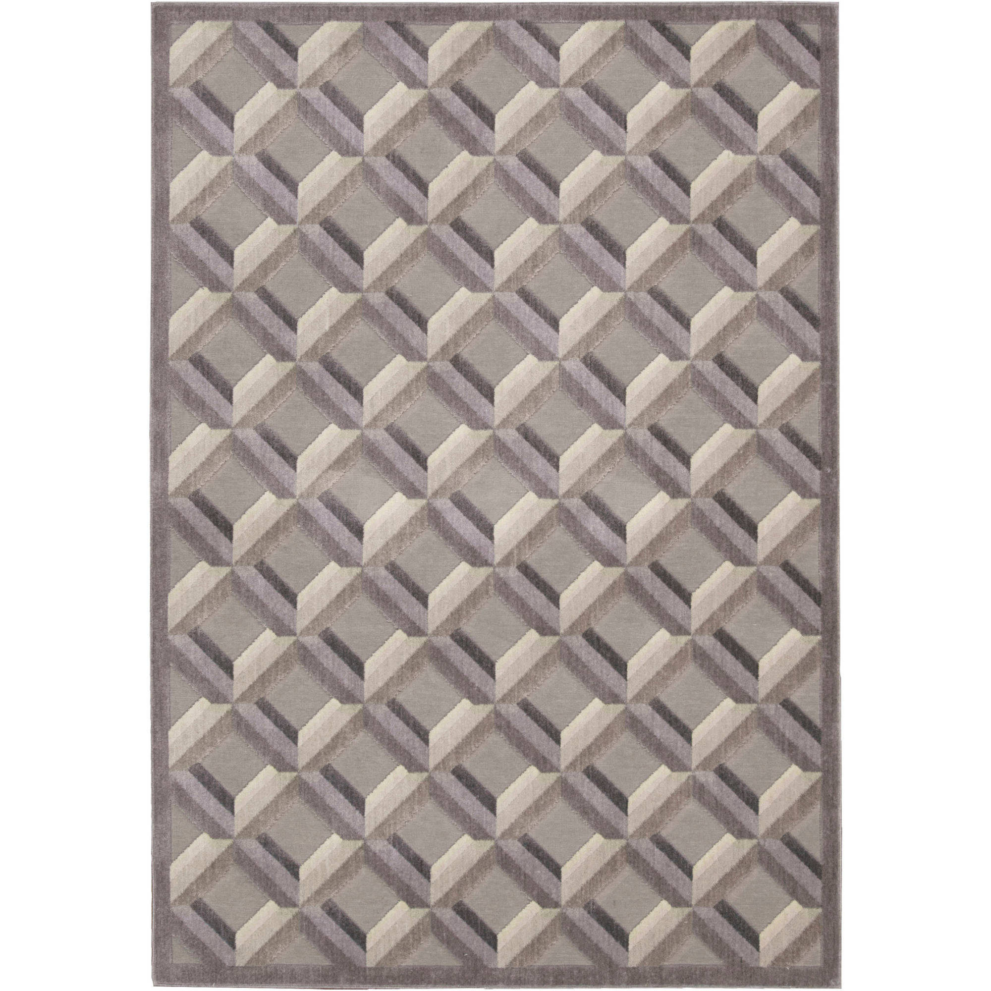 Nourison Graphic Illusions Shaded Squares Rug, Stone