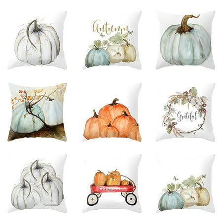 Heepo Watercolor Pumpkin Cushion Cover Pillow Case Halloween Thanksgiving Day Decor (Pumpkin Lamp Post Cover)