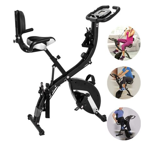 Folding Upright Exercise Bike with Arm Resistance Bands and Heart Monitor 3 in 1 Indoor Stationary Bicycle Cardio Fitness with LCD Screen Premium Home Gym Use Cycling Trainer Workout