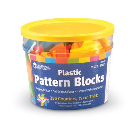 Learning Resources Brights! Pattern Blocks, 250 Blocks, Ages - Pattern Blocks