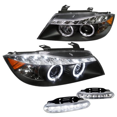 Bmw 5 Series Headlamp - Spec-D Tuning For 2006-2008 Bmw E90 3 Series Black R8 Style Led Halo Projector Headlights, Led Fog Lamps (Left+Right)
