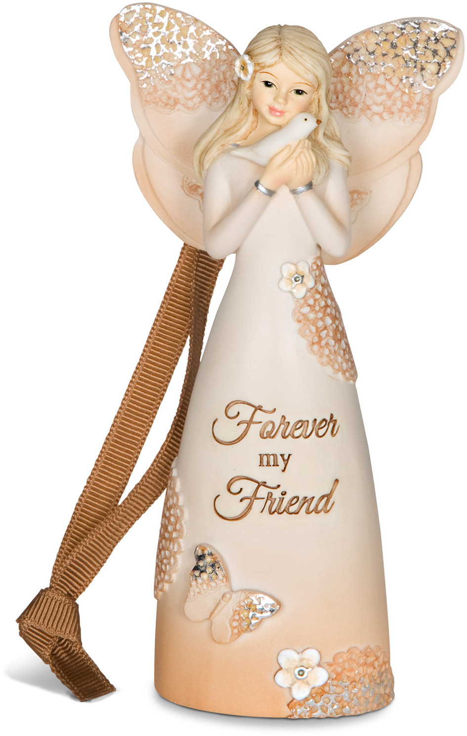Light Your Way Every Day Forever My Friend Floral Butterfly Angel Holding Bird Christmas Tree Ornament 4 5 Walmart Com Walmart Com