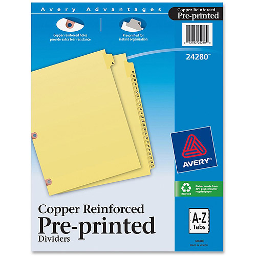 Avery A-Z Copper Reinforced Laminated Tab Dividers