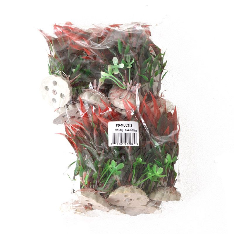 Aquatop Plastic Aquarium Plants Power Pack - Red & Green 12 Pack - (4 High Plants) - Pack of 2