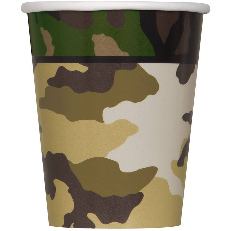 9oz Paper Military Camo Cups, 8ct