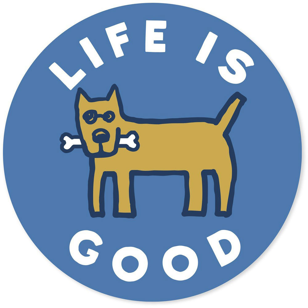 "Life is Good. 4"" Circle Sticker - Rocket Bone - Marina Blue"