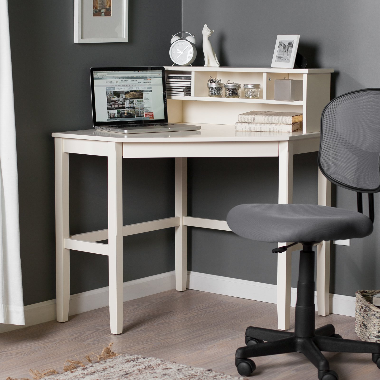 corner laptop writing desk with optional hutch - vanilla - walmart