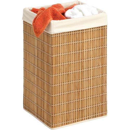 Honey Can Do Square Bamboo Wicker Hamper