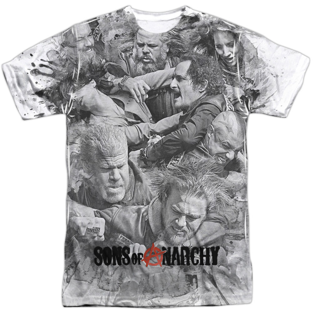 Sons Of Anarchy Men's  Brawl Sublimation T-shirt White