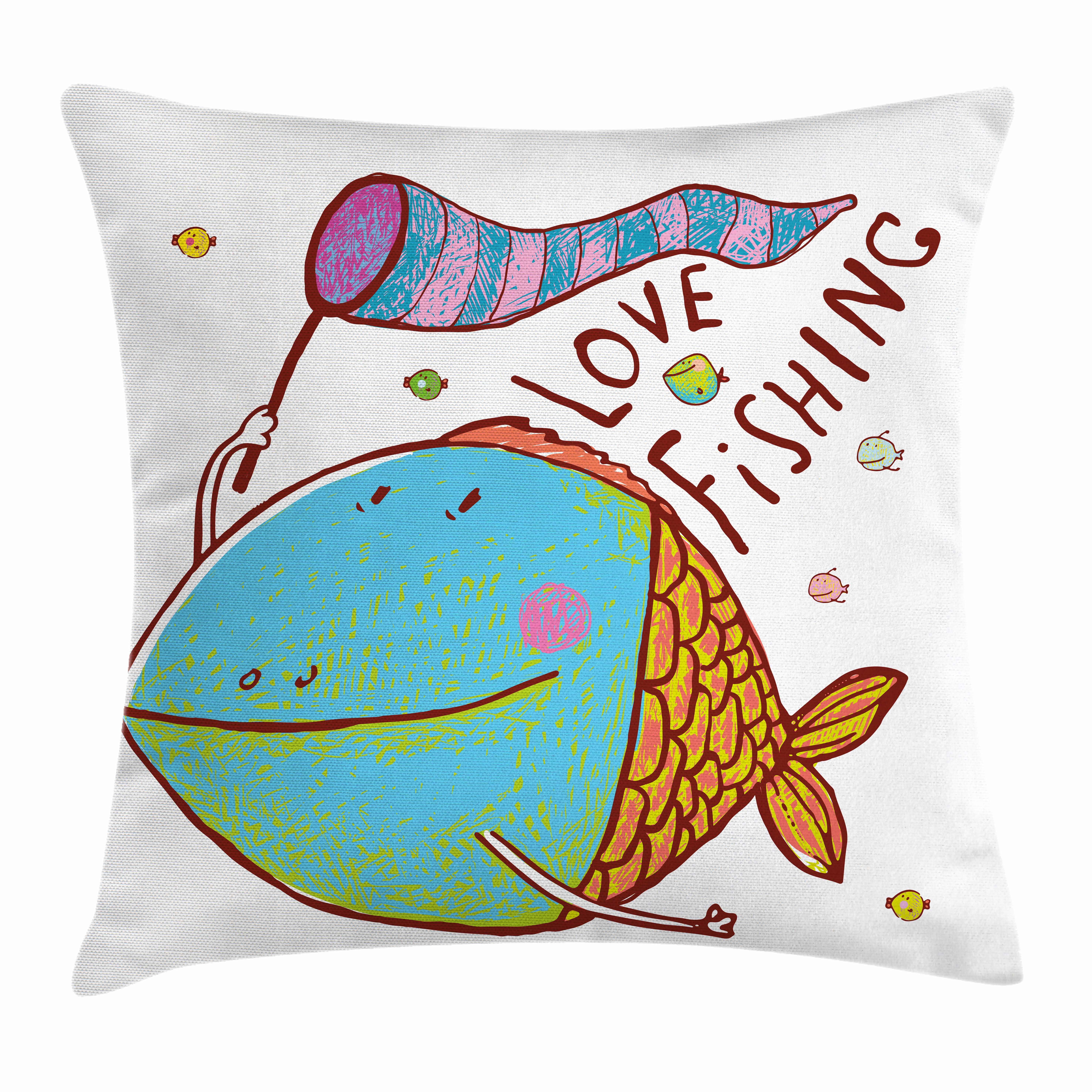 Fishing Decor Throw Pillow Cushion Cover, Kids Cute Large Fat Fish Holding a Flag with Love Quote Humor Fun Nursery Theme, Decorative Square Accent Pillow Case, 16 X 16 Inches, Multi, by Ambesonne