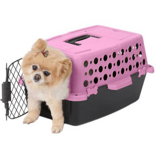 "Pet Champion Pet Crate, 2'1""W x 2'7""D x 10""H, Pink/Black"