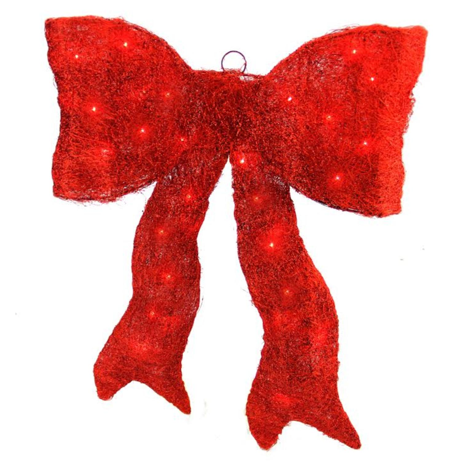 "18"" Lighted Sparkling Red Whimsical Sisal Bow Christmas Yard Art Decoration"