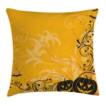Halloween Decorations Throw Pillow Cushion Cover, Carved Pumpkins with Floral Patterns Bats and Webs Horror Artwork, Decorative Square Accent Pillow Case, 16 X 16 Inches, Orange Black, by - Halloween Decorations Pumpkin Carving