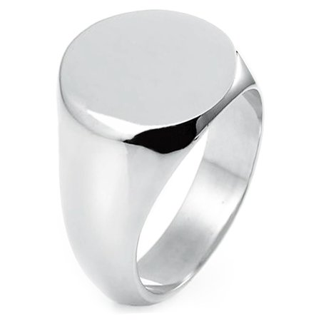 Sterling Silver Round Flat Top Polished Classic Plain Signet Ring
