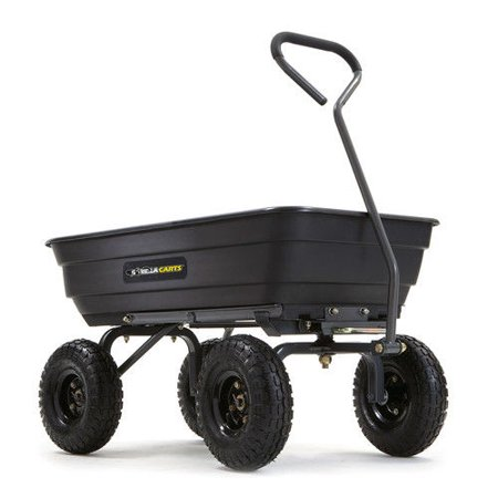 Gorilla Carts GOR4PS Poly Garden Dump Cart w/ Steel Frame and Pneumatic Tires - Black (Gorilla Yard Cart)