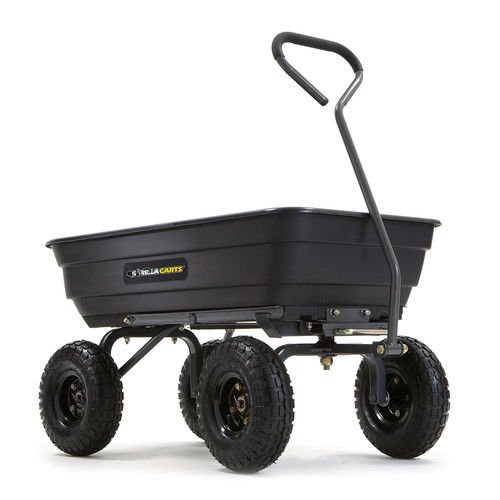Gorilla Carts GOR4PS Poly Garden Dump Cart w/ Steel Frame and Pneumatic  Tires - Black
