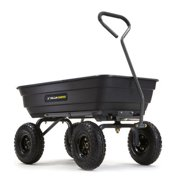 Gorilla Carts GOR4PS Poly Garden Dump Cart w/ Steel Frame and Pneumatic Tires - Black