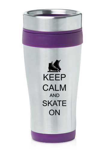 Purple 16oz Insulated Stainless Steel Travel Mug Z1391 Keep Calm and Skate On Ice Skates by