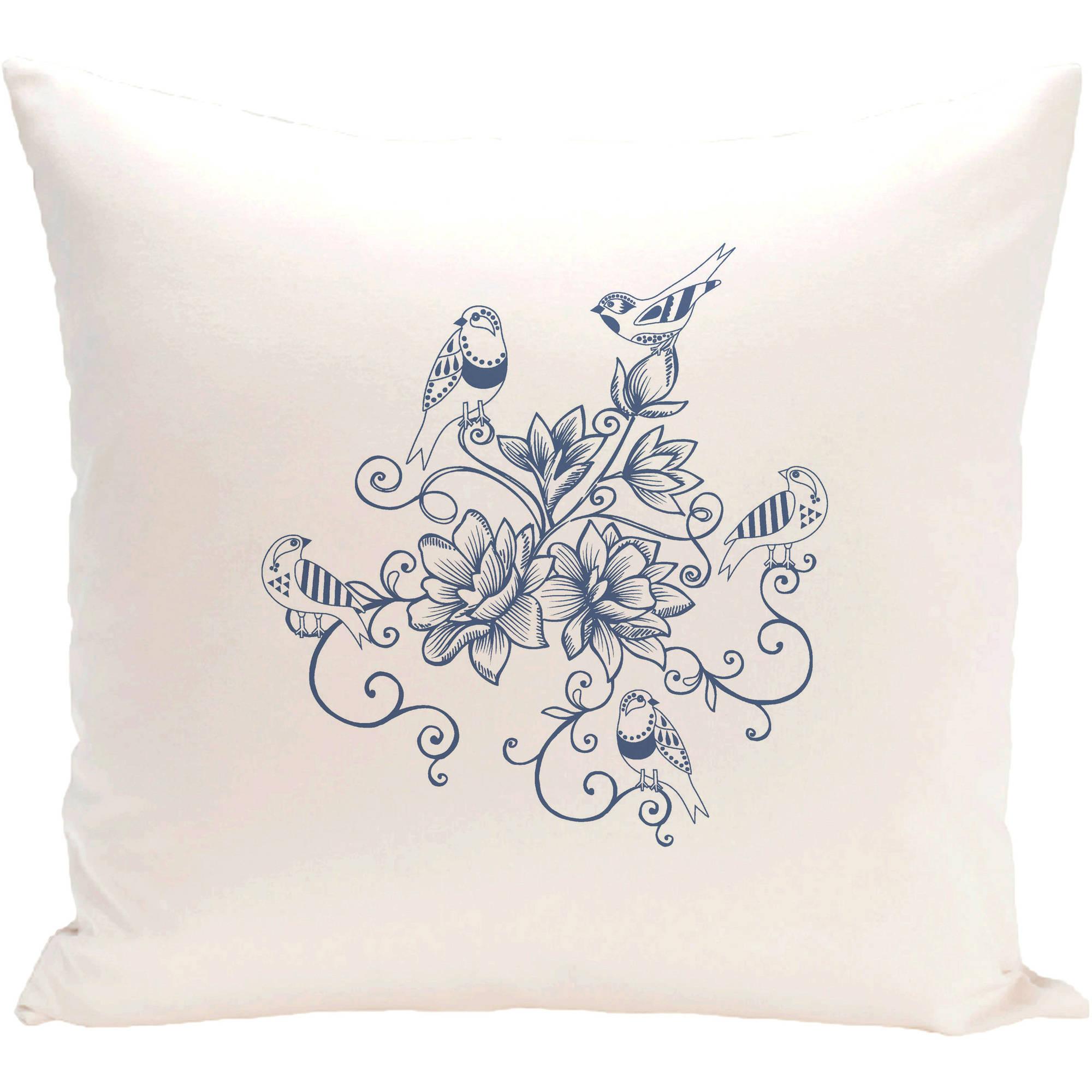 "Simply Daisy 16"" x 16"" Five Little Birds Floral Print Pillow"