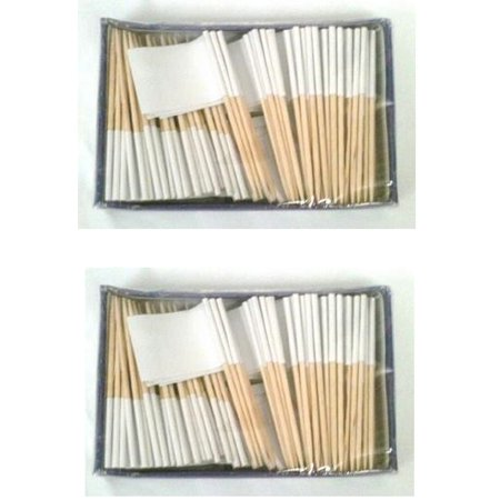 2 Boxes of Solid White Toothpick Flags, 200 Small White Flag Toothpicks or Cocktail Picks (World Flag Toothpicks)