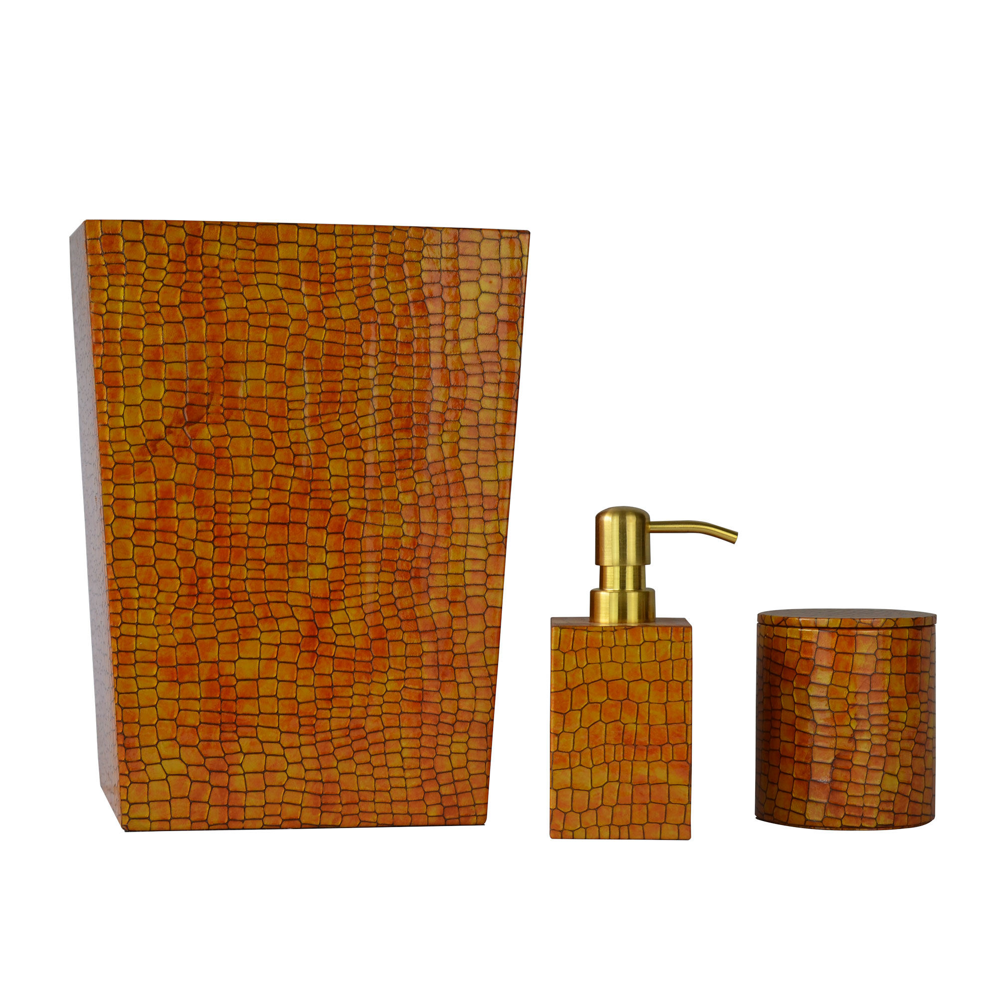 Genuine Leather 3-Piece Bath Set, Honey Comb, Shower and Bathroom Accessory by Overstock