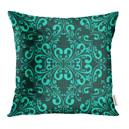 - YWOTA Blue Rich Turquoise Floral Pattern Scroll Wall Antique Beautiful Classy Continuous Pillow Cases Cushion Cover 20x20 inch