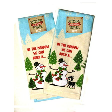 We Can Build a Snowman Cotton Kitchen Towel Set 16 x 26