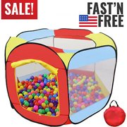 "50"" Kids Rainbow Pop Up Hexagon Ball Pit Playpen with Carrying Tote Bag - Ball Pit for Kids, Portable Play Area"