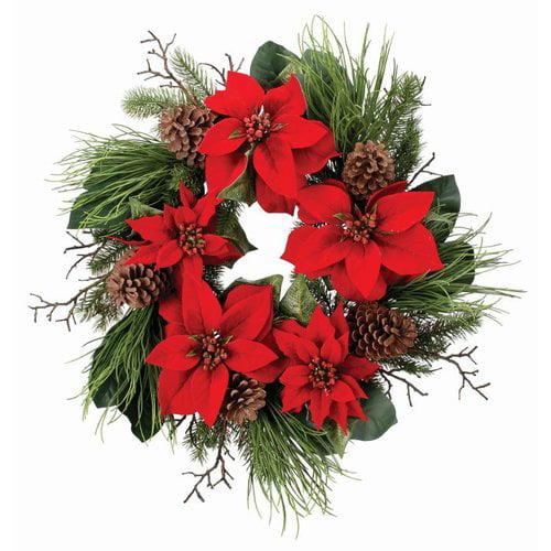 The Holiday Aisle 26'' Velvet Poinsettia Wreath