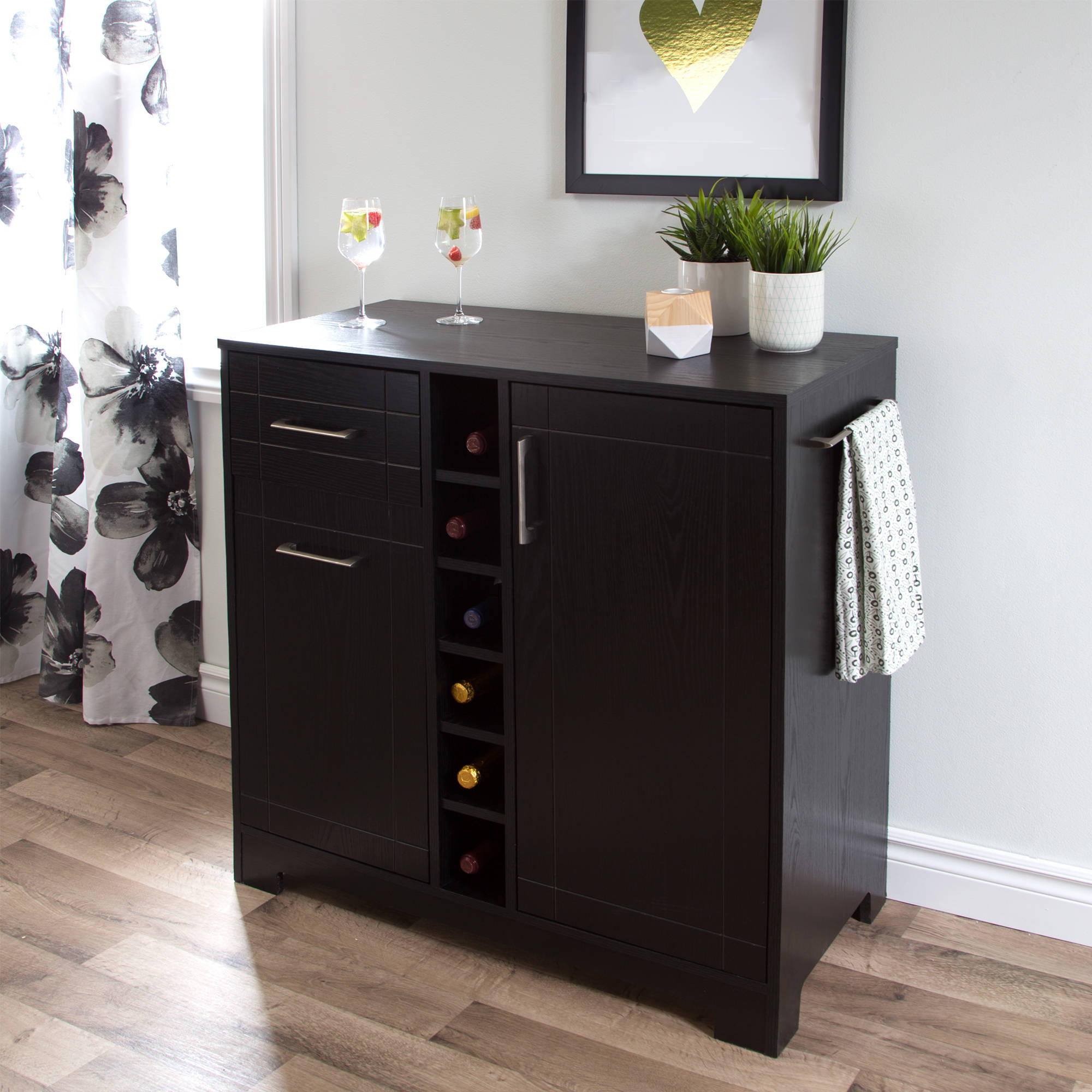 South Shore Vietti Bar Cabinet with Bottle and Glass Storage, Multiple Finishes