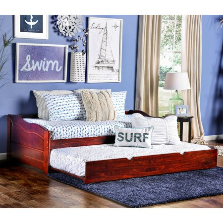 Furniture of America Platform Style Daybed with Twin Trundle (Wood Daybed)