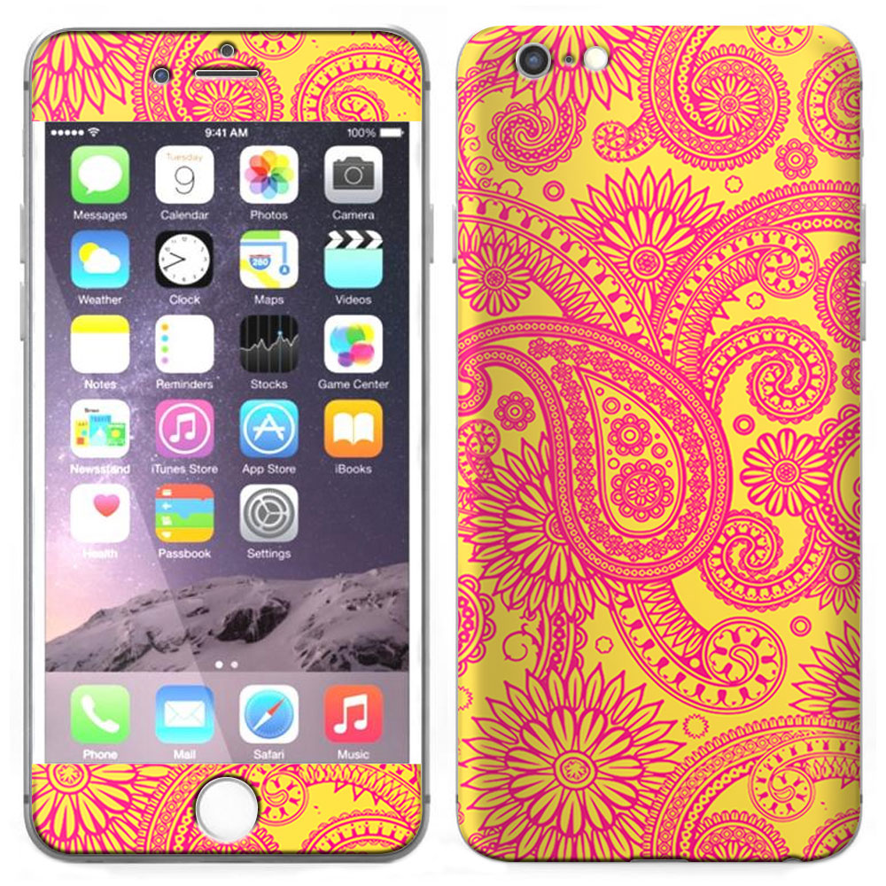 SKIN DECAL FOR Apple iPhone 6 Plus - Paisley Pink on Yellow DECAL, NOT A CASE