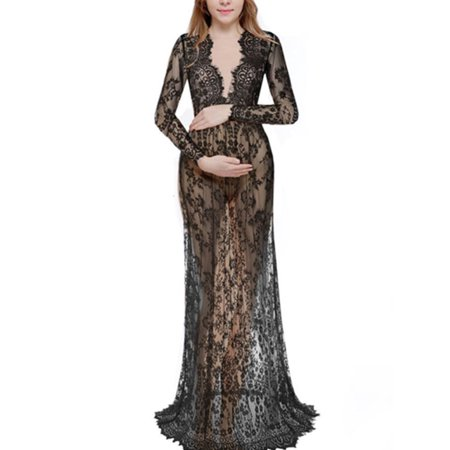 Pregnant Women Lace Sheer Maternity Gown Maxi Dress Photography Props Plus Size - Cheap Photography Props For Sale