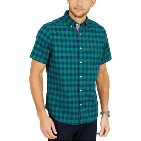 Nautica Mens Classic Fit Check Button Up Shirt Button Up Short Sleeve T-shirt