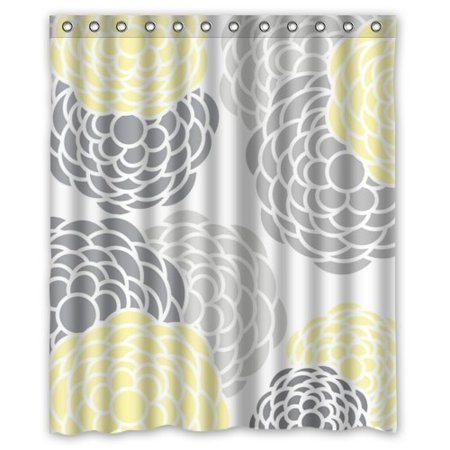 HelloDecor Flower Gray Yellow Shower Curtain Polyester Fabric Bathroom Decorative Size 60x72 Inches