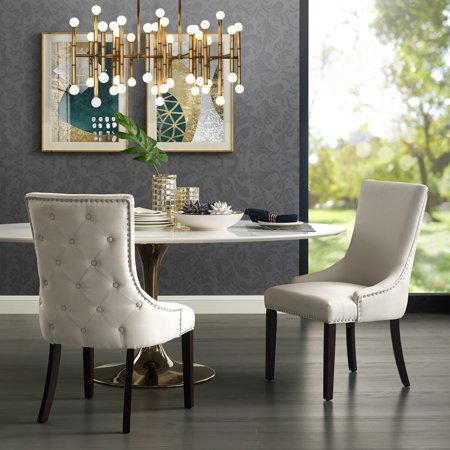 Annabelle Cream Linen Dining Chair - Set of 2 | Back Tufted ...