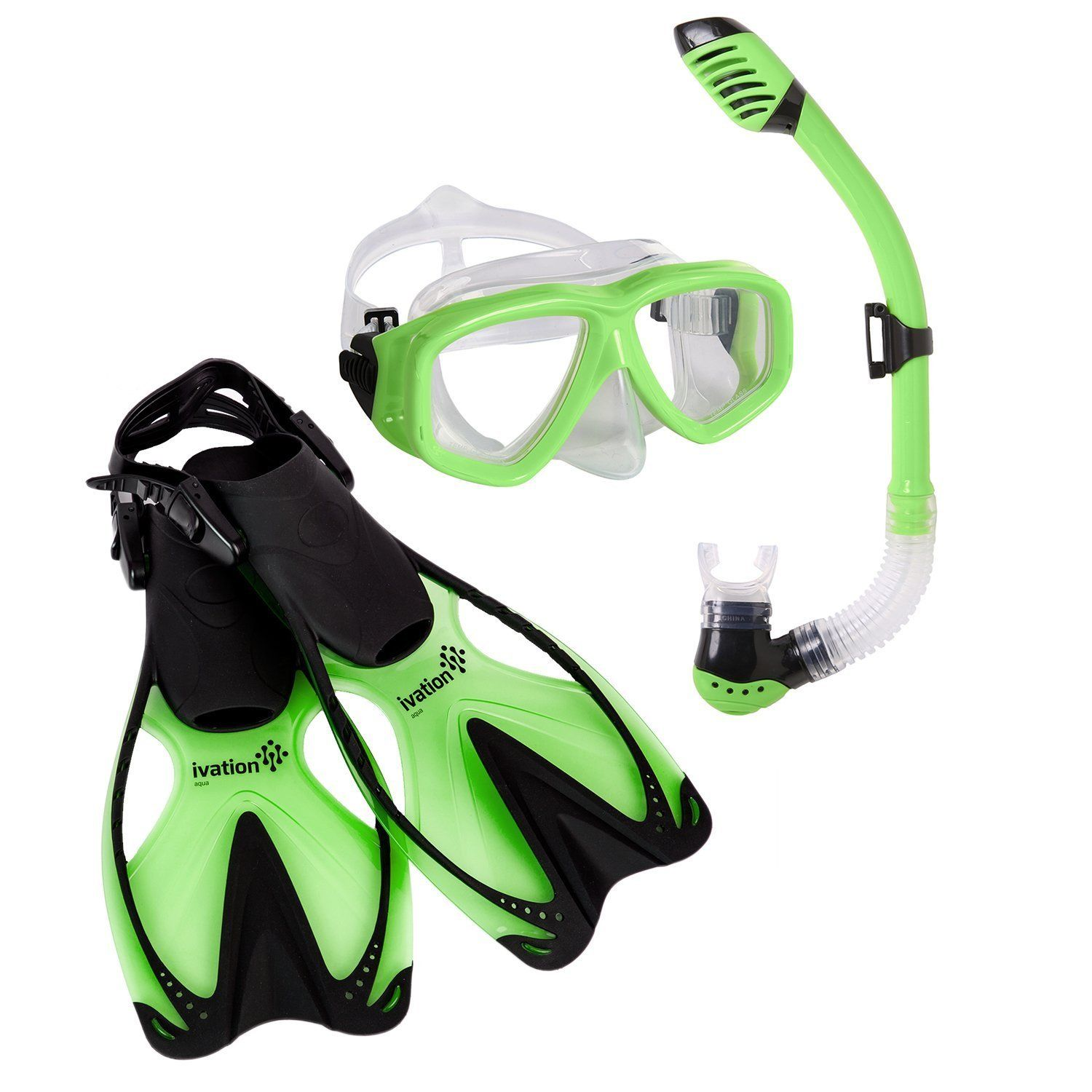 Kid's Snorkel Gear Snorkeling Mask, Dry Snorkel, & Fins Set Diving, Swimming by Ivation