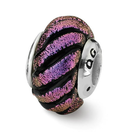 Dichroic Glass & Sterling Silver Purple Swirl Bead Charm, 15mm