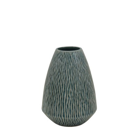 957a0c4f136 Benzara Engraved Wave Patterned Ceramic Vase with Round Top